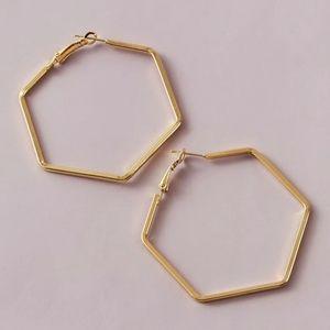 24k Gold Plated hexagon Earrings